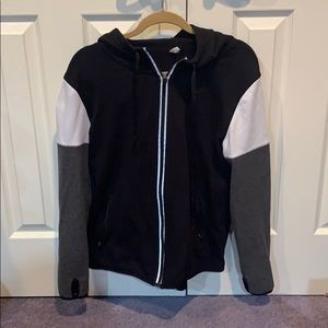 Black grey and white ideology zipper-down hoodie